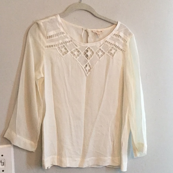 Sheer Ivory Embroidered Blouse  Button Back Blouse